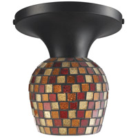 Celina 1 Light 7 inch Dark Rust Semi-Flush Mount Ceiling Light in Incandescent, Multi Mosaic Glass, Standard