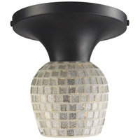 Celina 1 Light 7 inch Dark Rust Semi-Flush Mount Ceiling Light in Incandescent, Silver Mosaic Glass, Standard