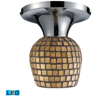 Celina LED 7 inch Polished Chrome Semi-Flush Mount Ceiling Light in Gold Leaf Mosaic Glass, Standard