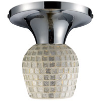 Celina 1 Light 7 inch Polished Chrome Semi-Flush Mount Ceiling Light in Incandescent, Silver Mosaic Glass, Standard