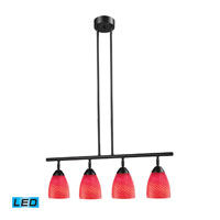 Celina LED 30 inch Dark Rust Billiard/Island Ceiling Light in Scarlet Red Glass
