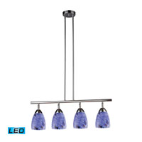 Celina LED 30 inch Polished Chrome Billiard/Island Ceiling Light in Starburst Blue Glass