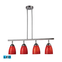 Celina LED 30 inch Polished Chrome Billiard/Island Ceiling Light in Fire Red Glass