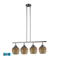 Celina LED 30 inch Polished Chrome Billiard/Island Ceiling Light in Gold Leaf Mosaic Glass