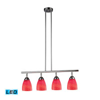 Celina LED 30 inch Polished Chrome Billiard/Island Ceiling Light in Scarlet Red Glass