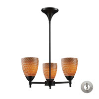 Celina 3 Light 18 inch Dark Rust Chandelier Ceiling Light in Incandescent, Cocoa Glass, Recessed Adapter Kit