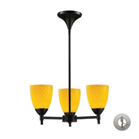 Celina 3 Light 18 inch Dark Rust Chandelier Ceiling Light in Incandescent, Canary Glass, Recessed Adapter Kit