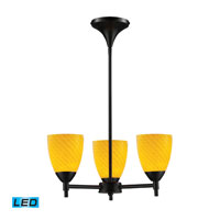 Celina LED 18 inch Dark Rust Chandelier Ceiling Light in Canary Glass, Standard