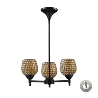 Celina 3 Light 18 inch Dark Rust Chandelier Ceiling Light in Incandescent, Gold Leaf Mosaic Glass, Recessed Adapter Kit