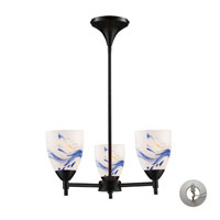 Celina 3 Light 18 inch Dark Rust Chandelier Ceiling Light in Incandescent, Mountain Glass, Recessed Adapter Kit