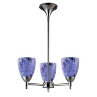 Celina 3 Light 18 inch Polished Chrome Chandelier Ceiling Light in Incandescent, Starburst Blue Glass, Standard