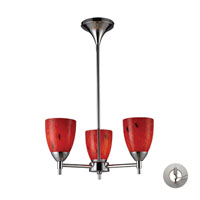 Celina 3 Light 18 inch Polished Chrome Chandelier Ceiling Light in Incandescent, Fire Red Glass, Recessed Adapter Kit