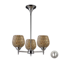 Celina 3 Light 18 inch Polished Chrome Chandelier Ceiling Light in Incandescent, Gold Leaf Mosaic Glass, Recessed Adapter Kit