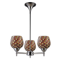 ELK 10154/3PC-MLT Celina 3 Light 18 inch Polished Chrome Chandelier Ceiling Light in Incandescent, Multi Mosaic Glass, Standard photo thumbnail