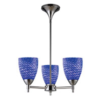 Celina 3 Light 18 inch Polished Chrome Chandelier Ceiling Light in Incandescent, Sapphire Glass, Standard