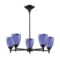 ELK 10155/5DR-BL Celina 5 Light 28 inch Dark Rust Chandelier Ceiling Light in Standard, Starburst Blue Glass photo thumbnail