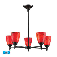 Celina LED 28 inch Dark Rust Chandelier Ceiling Light in Fire Red Glass