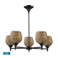 Celina LED 28 inch Dark Rust Chandelier Ceiling Light in Gold Leaf Mosaic Glass