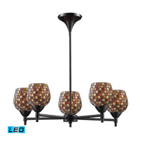 Celina LED 28 inch Dark Rust Chandelier Ceiling Light in Multi Mosaic Glass