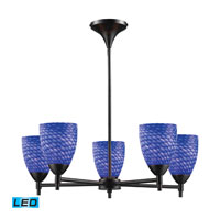 Celina LED 28 inch Dark Rust Chandelier Ceiling Light in Sapphire Glass