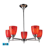 Celina LED 28 inch Polished Chrome Chandelier Ceiling Light in Fire Red Glass