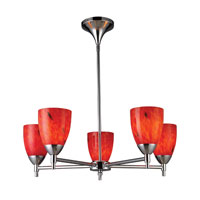ELK 10155/5PC-FR Celina 5 Light 28 inch Polished Chrome Chandelier Ceiling Light in Standard, Fire Red Glass photo thumbnail