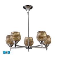 Celina LED 28 inch Polished Chrome Chandelier Ceiling Light in Gold Leaf Mosaic Glass