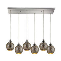 ELK 10208/6RC-SLV Fission 6 Light 30 inch Satin Nickel Pendant Ceiling Light in Silver Mosaic Glass photo thumbnail