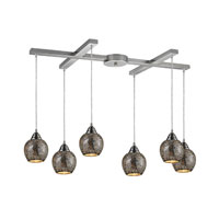 Fission 6 Light 33 inch Satin Nickel Pendant Ceiling Light in Silver Mosaic Glass