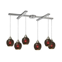 Fission 6 Light 33 inch Satin Nickel Pendant Ceiling Light in Wine Glass
