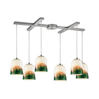 ELK Lighting Earthflows 6 Light Pendant in Satin Nickel 10219/6WE