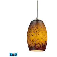 Maui LED 5 inch Satin Nickel Pendant Ceiling Light in Sunset Glass, Standard