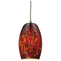 Maui LED 5 inch Satin Nickel Pendant Ceiling Light in Ember Glass, Standard