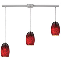 Maui 3 Light 36 inch Satin Nickel Pendant Ceiling Light in Frirebrick Glass