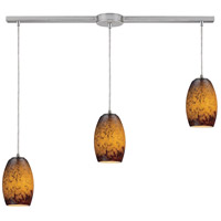 Maui 3 Light 36 inch Satin Nickel Pendant Ceiling Light in Sunset Glass
