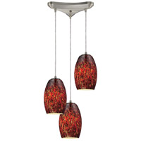 Maui 3 Light 10 inch Satin Nickel Pendant Ceiling Light in Ember Glass