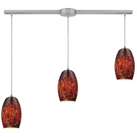 Maui 3 Light 36 inch Satin Nickel Pendant Ceiling Light in Ember Glass