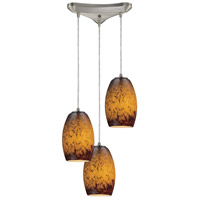 Maui 3 Light 10 inch Satin Nickel Pendant Ceiling Light in Sunset Glass