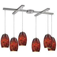 Maui 6 Light 33 inch Satin Nickel Pendant Ceiling Light in Ember Glass