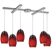 ELK 10220/6FBR Maui 6 Light 33 inch Satin Nickel Pendant Ceiling Light in Firebrick Glass, Incandescent, Light Bar