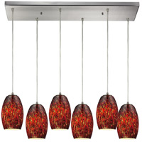 ELK 10220/6RC-EMB Maui 6 Light 9 inch Satin Nickel Pendant Ceiling Light in Ember, Incandescent, Rectangular Canopy