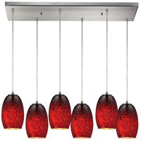 Maui 6 Light 30 inch Satin Nickel Pendant Ceiling Light in Frirebrick Glass