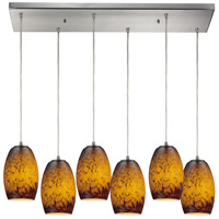 Maui 6 Light 30 inch Satin Nickel Pendant Ceiling Light in Sunset Glass
