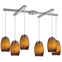 Maui 6 Light 33 inch Satin Nickel Pendant Ceiling Light in Sunset Glass