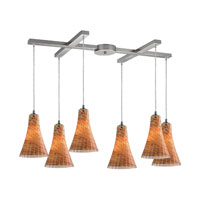 ELK Lighting Cadence 6 Light Pendant in Satin Nickel 10221/6AMF