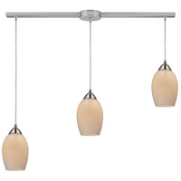 Favela 3 Light 36 inch Satin Nickel Pendant Ceiling Light in Coconut Glass