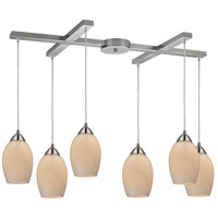 Favela 6 Light 33 inch Satin Nickel Pendant Ceiling Light in Coconut Glass