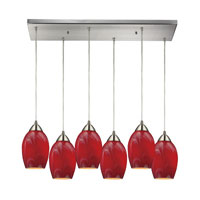 Favela 6 Light 30 inch Satin Nickel Pendant Ceiling Light in Candy Glass