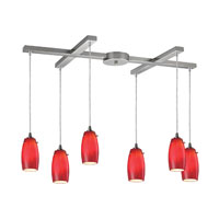 Favelita 6 Light 33 inch Satin Nickel Pendant Ceiling Light in Candy Glass