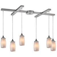 Favelita 6 Light 33 inch Satin Nickel Pendant Ceiling Light in Coconut Glass